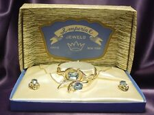 1940's Imperial Crown Jewels Necklace, Earrings, Bracelet Parure Vintage Box Set