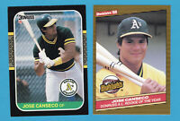 JOSE CANSECO 1986 DONRUSS HIGHLIGHTS ROOKIE & 1987 2 CARD LOT ATHLETICS ROY A'S