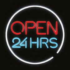 "Open24 Hrs Cafe Neon Sign 17""x17"" Pub Beer Light Bar Christmas"