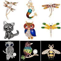 Lovely Cat Owl Bee Animal Pearl Crystal Rhinestone Brooch Pin Women Lady Jewelry