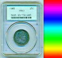 1909 PCGS PR63 Scarce GEN 2.1 Slab █ PR64? █ 650 Minted PROOF Barber Quarter 25C