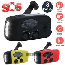 2/3Pack Emergency Solar Hand Crank Dynamo AM/FM Weather Radio LED Torch Charger