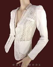Veste DIAMANT ANGEL T. L 40 3 Dentelle blanc Simili cuir Soirée NEUF Jacket