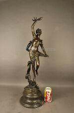 "SIGNED: A.Moreau, Bronze statue ""DEPART DES MIRONDELLES"" Nude girl w/birds."