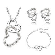 SPOSA gioielleria set di gioielli bianco Orecchini con cristalli a cuore