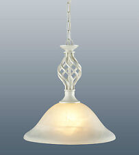 CLASSIC CREAM FINISH SINGLE LIGHT PENDANT CEILING FITTING (BARLEY TWIST)