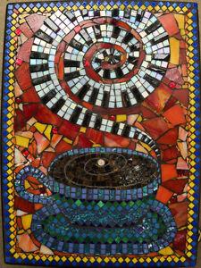 Mosaic Side Table, Coffee, Music, Bohemian Furniture, Artist Created Los Angeles