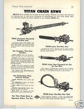 1951 PAPER AD Titan Chain Saw Automatic 2 Two Man 12 HP Bluestreak Bow Saws