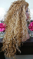 Soft Curly Ash Brown & Platinum Blonde Mix Lace Front Wig Long Layers Heat Safe