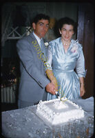 Married Couple Cutting Cake 1950s 35mm Slide Red Border Kodachrome Americana