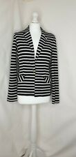 Next Black & White Nautical Stripe Smart Casual Trendy Jersey Blazer UK 8