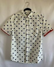 Tropicalia Mens Stars Print Short Sleeve Button-Down Shirt Size Medium Blue
