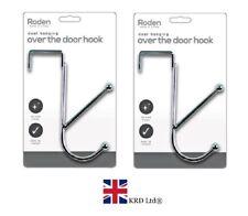 2 x STRONG OVER THE DOOR HOOKS Hangers Clothes Coat Rack Hook Hanger Chrome UK