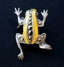 Antique Art Deco Solid Silver Enamelled Poisonous Tree Frog Brooch c1930s
