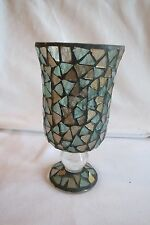"Pedestal Candle Holder Blue/Gold Color Mirror Mosaic Chips Pier 1 Imports 4"" x7"""