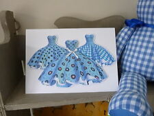Blue 1950s Dresses Rock & Roll Handmade Birthday Mother's Day Card Blank Insert