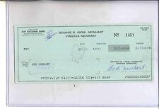 BOB NEWHART AUTOGRAPH CANCELED CHECK SIGNED TWICE FRONT AND BACK