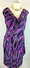New Planet dress Bodycon Jersey Purple Multi stripe Tie belt Knee cowl rrp £99