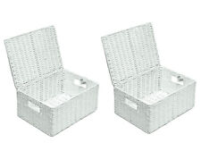 2 x Paper Rope Storage Hamper Basket With Lid - Ideal For Gifts Arpan