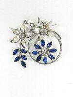 Vintage Floral Brooch Silver Tone Crystal Rhinestone Circle Swirl Flower Pin