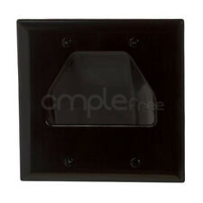 Wall Plate 2 Gang Recessed Low Voltage Cable Black NEW