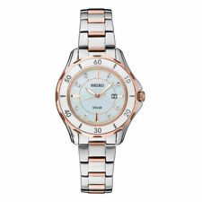Seiko Women's Diamond Mother of Pearl Rose Gold & Stainless Solar Watch SUT340