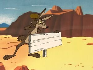 Animation Production Cel Wile E. Coyote 2 Cel Setup + Production Drawing 1960's