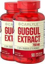 Guggul Extract 2.5% Guggulsterone 90 Caps 750 mg Cholesterol Support Carlyle