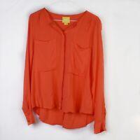 Anthropologie Maeve Blouse Size 4 Clara Button Down Womens Top Orange