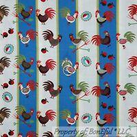 BonEful Fabric FQ Cotton Quilt VTG Blue Red White Rooster Chicken Kitchen Stripe
