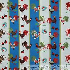 BonEful Fabric FQ Cotton Quilt VTG Blue Red White Rooster Chicken Kitchen Stripe