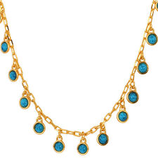 Fashion Collar with Blue Turquoise Stone Charms 18k Gold Plated Chain Necklace