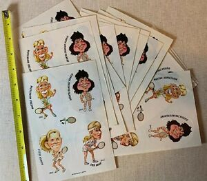 20 Vintage 1980s CADYNA Sticker Sheets  Women's Tennis Selles Graff Caricature
