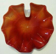 Vtg Murano Toso ? Shell Art Glass Bowl White & Atomic Orange w/ gold inclusions