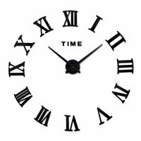 3D Modern Home Clock Wall Sticker Large Decor Design Number White Hour Display