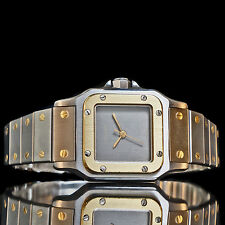 Stunning Cartier Lady Santos Automatic 18K/Steel Watch, Rare Slate Dial, MINT!