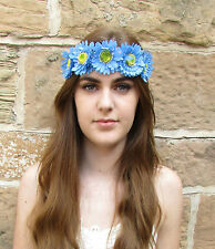 Blue Gerbera Daisy Flower Headband Garland Festival Hippy Hair Crown Vintage Z81