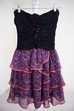 Arden B 100% Polyester Multi-Colored Floral Lined Above Knee Tiered Dress Size S