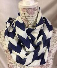 Women's Scarf Blue White Chevron Wrap Around Circle Round Modern Ladies Scarves