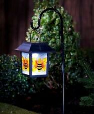 Stained Glass Hanging Lantern with Solar Light, Garden, Home (Bumble Bee)