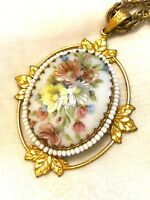 MARIAM HASKELL GOLD-TONE CHAIN NECKLACE PORCELAIN HAND-PAINTED FLORAL PENDANT