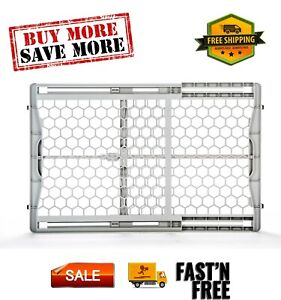 """Easy Fit Plastic Adjustable Dog Gate, Gray, 42""""L x 3""""W x 23""""H, 2323DS indoor use"""