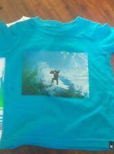 HURLEY  BOY'S INFANT'S KIDS TURQUOISE MONKEY ON WAVE LOGO T-SHIRT  NWOT SIZE12M