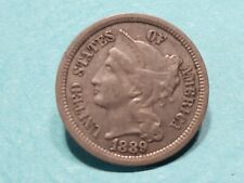 Us coins 3 three cent copper nickel 1889 rare date