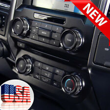 USA- Black For Ford F150-XLT 2016-17 Air Condition Switch Knob Cover Trim 6pcs