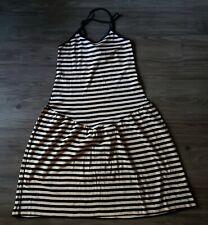 Vtg Sonia Rykiel Black Tan Striped Dress Cotton Sleeveless Spaghetti Cocktail