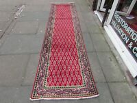 Vintage Traditional Hand Made Rug Oriental Red Wool Long Runner 329x80cm