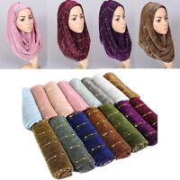 Fashion Women Polyester Paillette Shawl Scarf Islamic Muslim Hijab Wrap Scarves