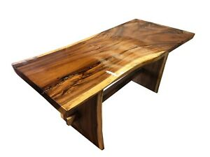 """77"""" Dining Table,Live Edge Solid Suar Wood, Natural Smooth, with river stone"""