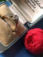 English Hallmarks 1990 London 9ct Gold Diamond Ring Approx 0.06 Ct UK Sz J1/2